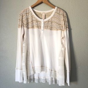 Sundance Thermal Lace Clara Top Ling Sleeves L